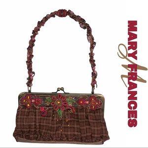 Mary Frances Funky Plaid & Beaded Shoulder Bag